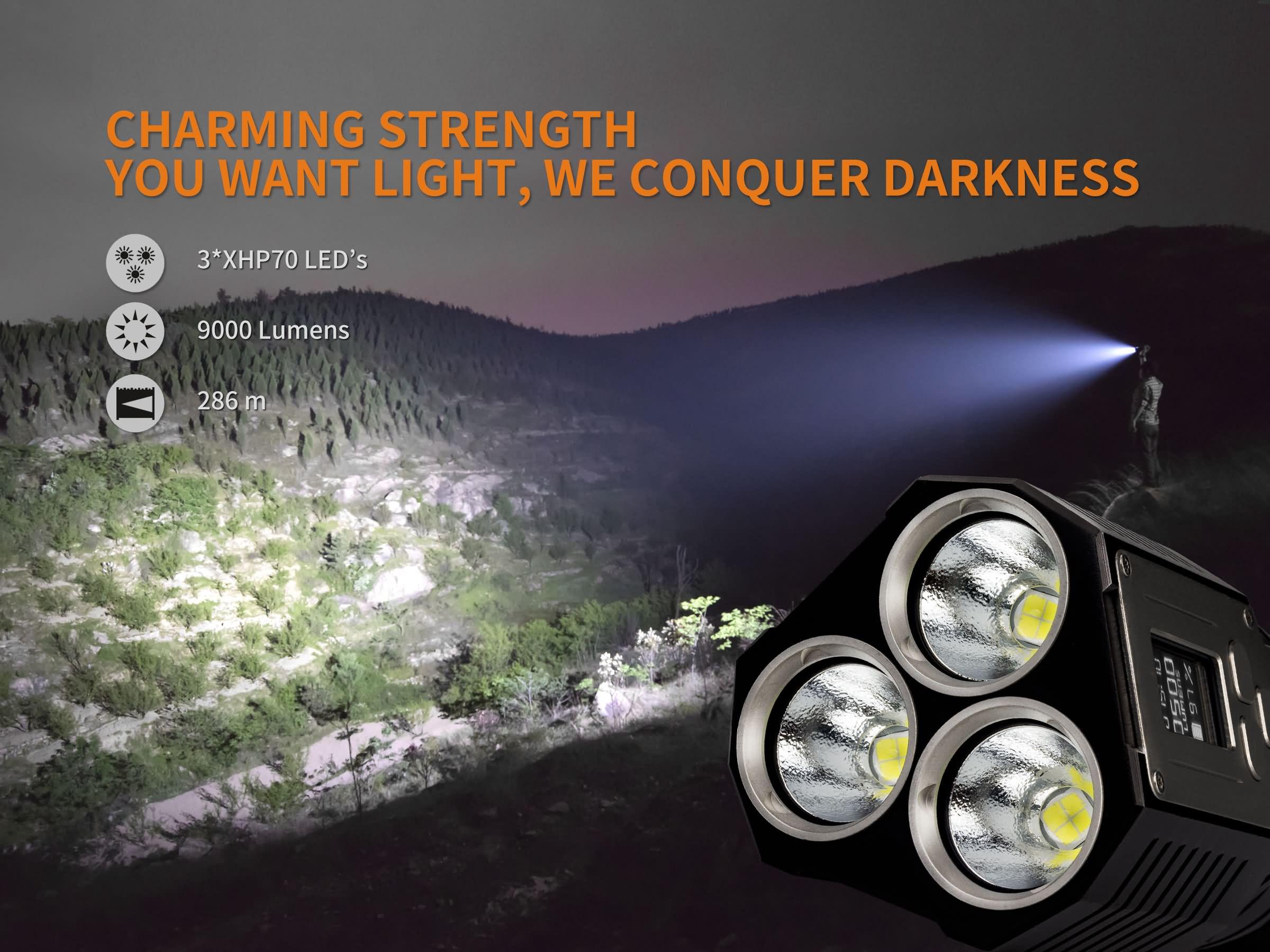 fenix tk72r 3x cree xhp70 led taschenlampe 9000 lumen neu. Black Bedroom Furniture Sets. Home Design Ideas